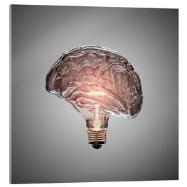 Acrylglas print  Conceptual light bulb brain illustrated - Johan Swanepoel