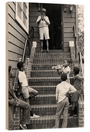 Hout print  Louis Armstrong in New York