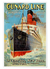 Premium poster Cunard Line - Liverpool, New York, Boston