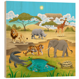Hout print  African animals in a savannah - Kidz Collection