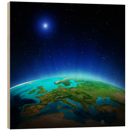 Hout print  Europe on planet Earth