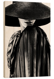 Hout print  Woman with black hat