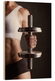 Hout print  Sportswoman with dumbbell