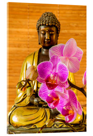 Acrylglas print  Buddha with orchid