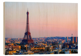 Hout print  Eiffel Tower in the evening, Paris