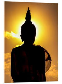 Acrylglas print  Silhouette of Buddha in the temple