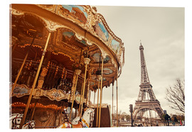Acrylglas print  carousel and the Eiffel Tower at sunset