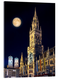 Acrylglas print  Night scene from Munich Town Hall