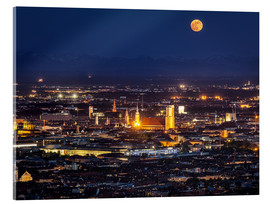 Acrylglas print  Munich Skyline with yellow full moon