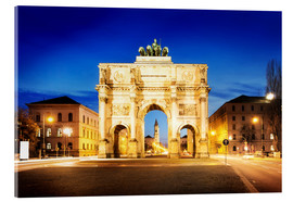 Acrylglas print  Victory Arch in Munich at night