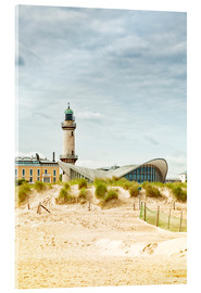Acrylglas print  Old lighthouse and Teepott building at Warnemünde