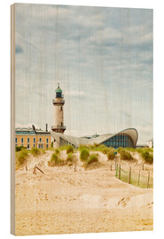 Hout print  Old lighthouse and Teepott building at Warnemünde