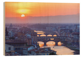 Hout print  Florence at sunset