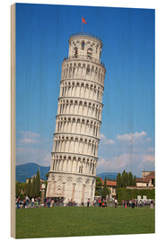 Hout print  Leaning tower of Pisa, Italy