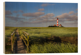 Hout print  Lighthouse in the salt marshes on the North Coast