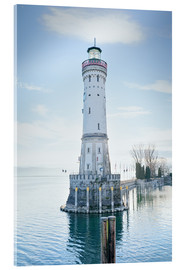 Acrylglas print  beautiful lighthouse at Lindau
