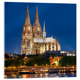 Acrylglas print  Night view of Cologne Cathedral