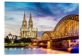 Acrylglas print  Lighted Cathedral with Rhine and Bridge, Cologne
