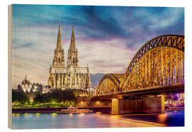 Hout print  Lighted Cathedral with Rhine and Bridge, Cologne