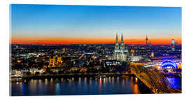 Acrylglas print  Colorful Cologne skyline at night