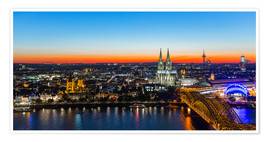 Premium poster  Colorful Cologne skyline at night