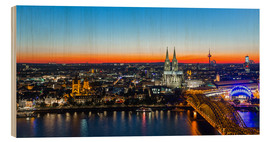 Hout print  Colorful Cologne skyline at night