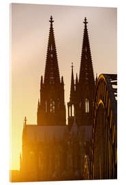 Acrylglas print  Sunset behind the Cologne Cathedral