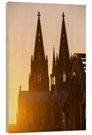 Hout print  Sunset behind the Cologne Cathedral