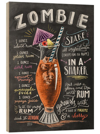 Hout print  Zombie Cocktail recipe - Lily & Val