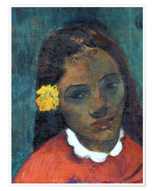 Premium poster Head of a Tahitian woman listening Flower
