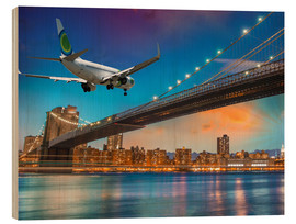Hout print  Aircraft flying over Brooklyn Bridge in New York