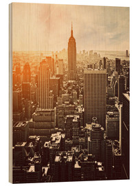Hout print  Zonsopkomst in Manhattan, New York