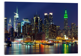 Acrylglas print  New York City at night over Hudson river