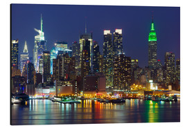 Aluminium print  New York City at night over Hudson river