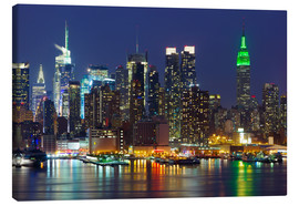 Canvas print  New York City at night over Hudson river