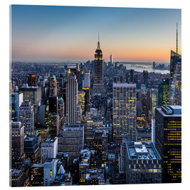 Acrylglas print  Empire State Building en wolkenkrabbers in de schemering, New York
