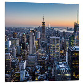 PVC print  Empire State Building en wolkenkrabbers in de schemering, New York
