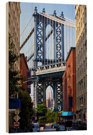 Hout print  Manhattan Bridge and Empire State Building