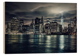 Hout print  Manhattan at night, New York City