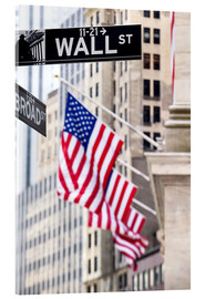 Acrylglas print  Wall street sign, New York Stock Exchange