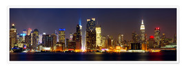 Premium poster Manhattan skyline with Times Square at night
