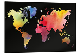 Acrylglas print  World map in water color