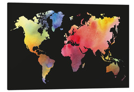 Aluminium print  World map in water color
