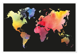 Premium poster  World map in water color