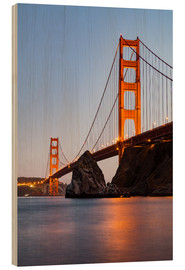 Hout print  ?San Francisco Golden Gate Bridge at sunset