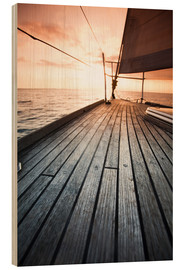 Hout print  Sailboat in the open sea