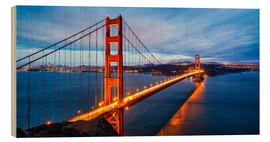 Hout print  Golden Gate Bridge in San Francisco