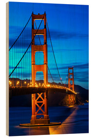 Hout print  Golden Gate Bridge at sunset, San Francisco