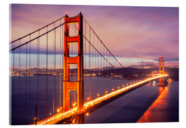 Acrylglas print  The Golden Gate Bridge at dusk, San Francisco