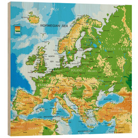 Hout print  Map of Europe